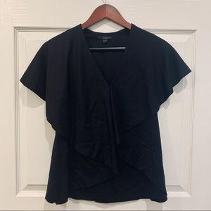 COS Black Ruffle Short Sleeve Top